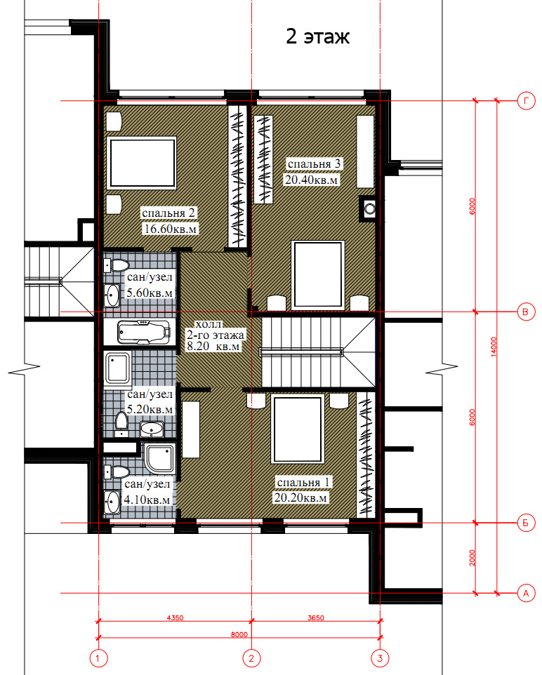 Планировка 2-го этажа таунхауса 270, КП Елочка