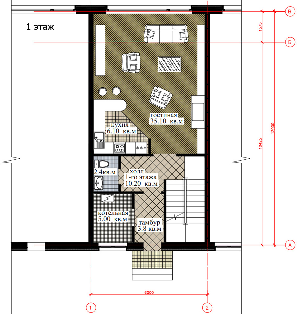 Планировка 1-го этажа таунхауса 200, КП Елочка, вариант 1