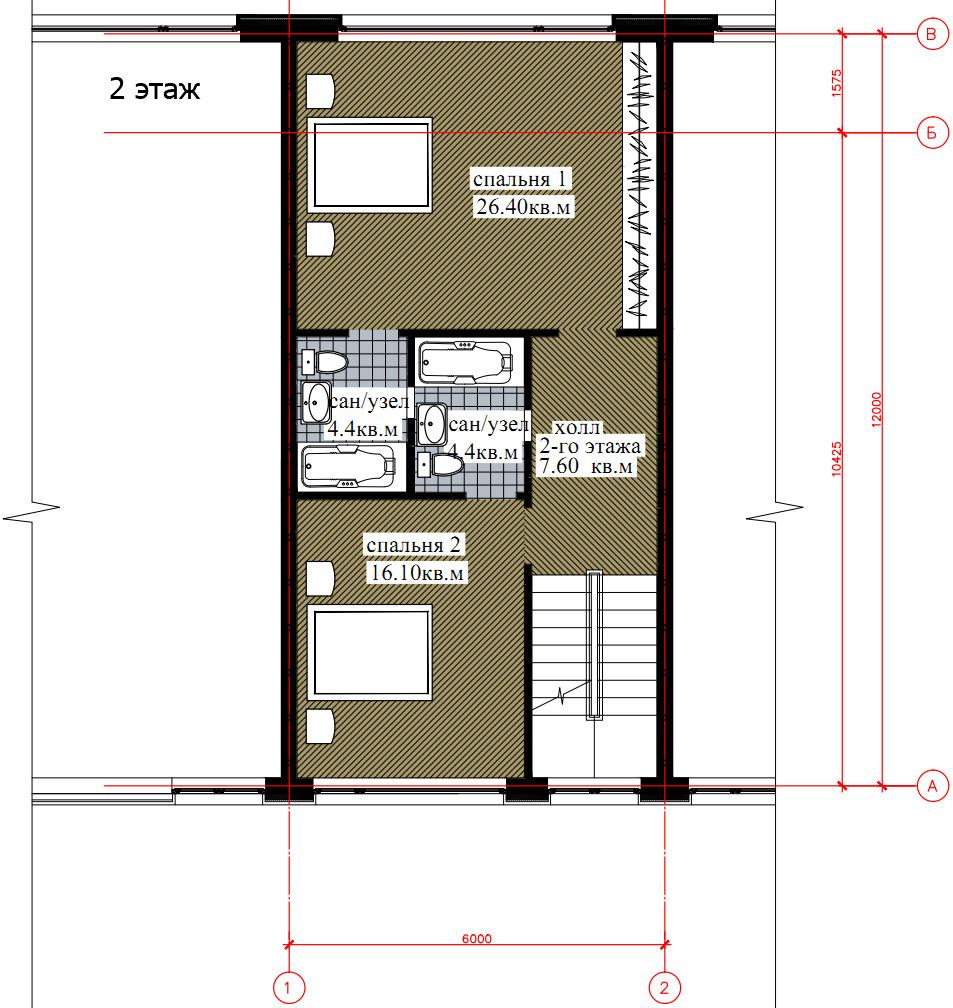 Планировка 2-го этажа таунхауса 200, КП Елочка, вариант 1