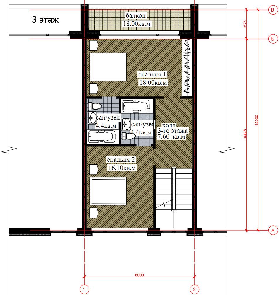 Планировка 3-го этажа таунхауса 200, КП Елочка, вариант 1