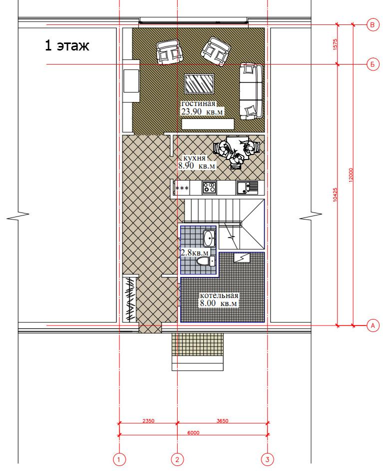 Планировка 1-го этажа таунхауса 200, КП Елочка, вариант 2