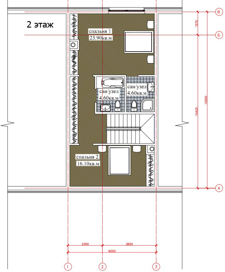 Планировка 2-го этажа таунхауса 200, КП Елочка, вариант 2