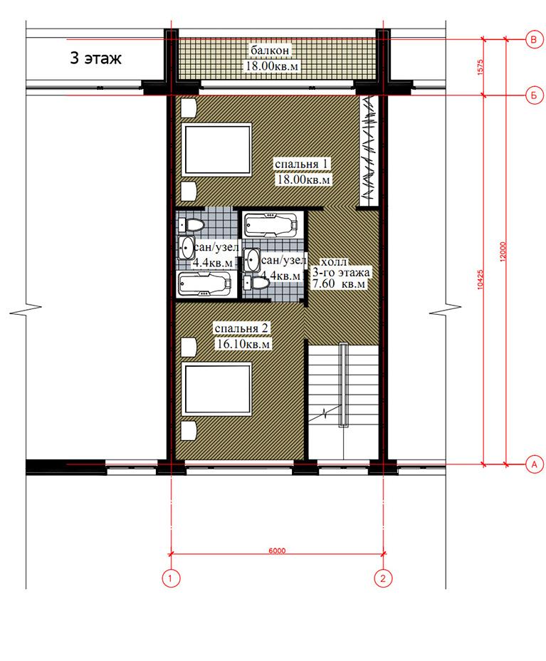 Планировка 3-го этажа таунхауса 200, КП Елочка, вариант 2