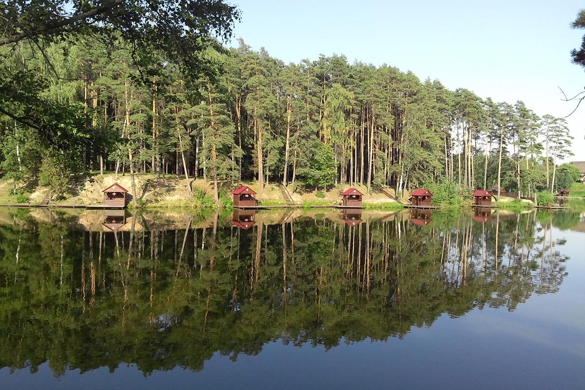 Озеро и лес сразу за забором поселка Елочка